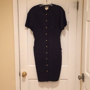 Fendi linen dress black size 40 gold buttons
